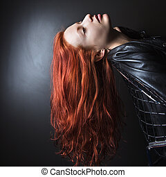 Long hair woman. - Pretty redhead young woman wearing...