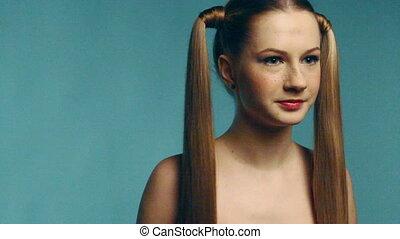 Long haired beauty girl
