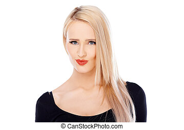 Long haired blond woman posing on white