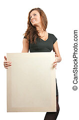 long haired girl in holds an empty poster - long-haired girl...