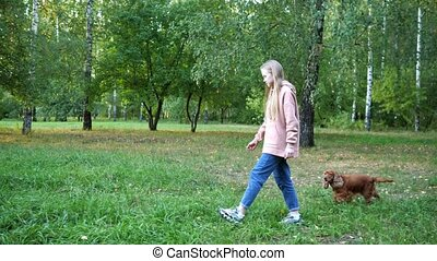 Long haired girl walks along green park with funny dog - ...