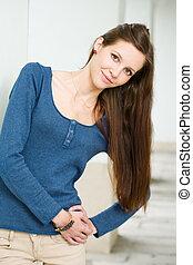 Long haired natural brunette beauty