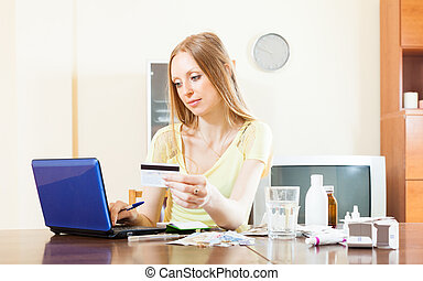 woman buying drugs online