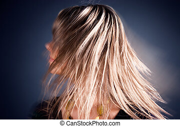 Long hairs in a motion