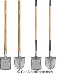 Long handle shovel and spade illustration. Wooden handle and fiberglass handle included. Vector format is easy to edit and separate.