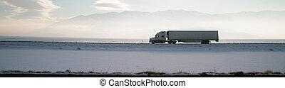 Long Haul Trucker White Light Polution Salt Flats Utah...
