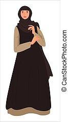 long, headscarf, porter, girl, robe, vecteur, musulman