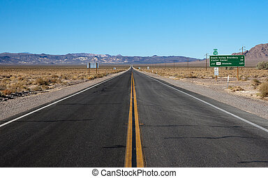 long highway through desert