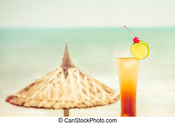 Long Island cocktail with fruits decoration