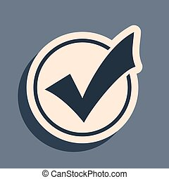 long, isolé, marque, rond, liste, vecteur, gris, ombre, noir, icône, arrière-plan., style., illustration, bouton, signe., chèque