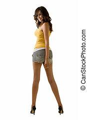 long, jambe, femme