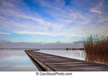 Long bent Jetty on a Cold Day at a Dutch Lake with Reed and Blue Sky