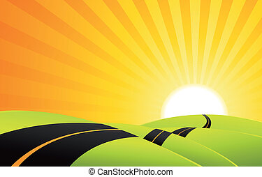 Illustration of a cartoon landscape road in the sunrise