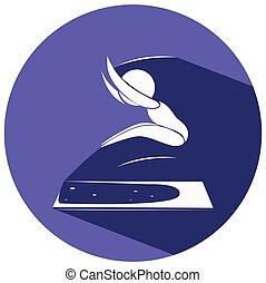 Long jump icon on purple badge