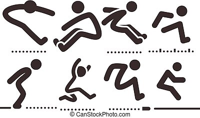 Long jump icons - Summer sports icons set - long jump icons...