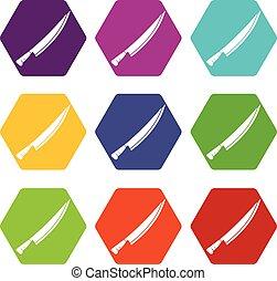 Long knife icon set color hexahedron - Long knife icon set...