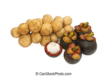 Long kong and Mangosteen ,thai fruits on white background