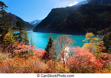Long Lake in autumn Jiuzhaigou scenic in Sichuan, China