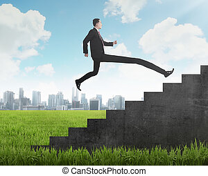 Long leg business person jump to the highest stair