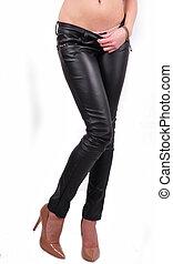 Long legs in skinny leather