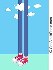 Long legs man and clouds. Tall man. Sneakers Isometrics...