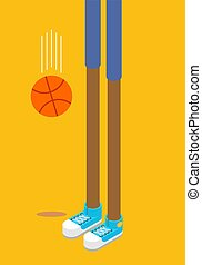 Long legs of basketball player. Sneakers and basketball....
