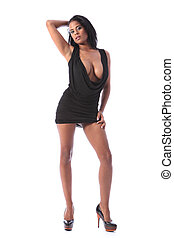 Long legs of sexy african american model woman