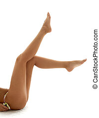 long legs - legs of sporty bikini girl