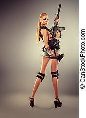 long legs - Full length portrait of a beautiful woman posing...