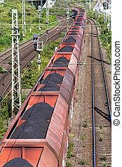 long lignite coal train - long coal train passes under a ...