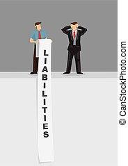 Long List of Liabilities Cartoon Vector Illustration -...
