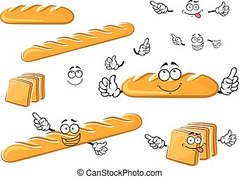 Long loaf, baguette and toast bread characters - Fresh baked...