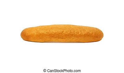 Long loaf of white bread with golden crust isolated on white background