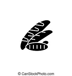 Long loafs black icon concept. Long loafs flat vector symbol, sign, illustration.