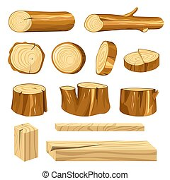 Long logs, polished planks and short stumps set. Natural...