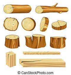 Long logs, polished planks and short stumps set. Natural...