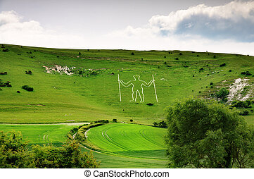 Long Man of Wilmington hill figure - Long Man of Wilmington,...