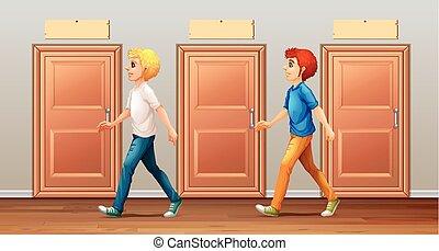 long, marche, hommes, deux, couloir