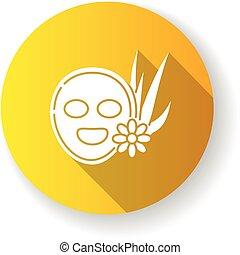 long, masque, type caractère jaune, plat, vegan, ombre, ...
