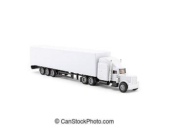 long, miniature, camion, fond, blanc, caravane
