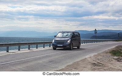 long, mouvements, autoroute, mer, minivan