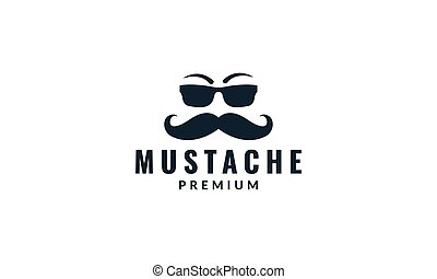 long mustache face with sunglasses logo design