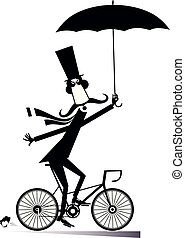 Long mustache man rides on the bike isolated illustration