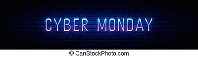 Long neon signboard with glowing Cyber Monday inscription.