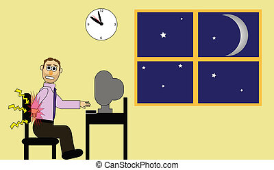Long Night at the Office - Cartoon office man working late...