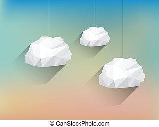 long, nuages, poly, brouillé, bas, fond, ombre