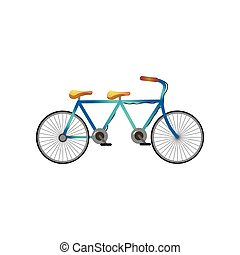 Long old vintage bicycle with two seats for two person