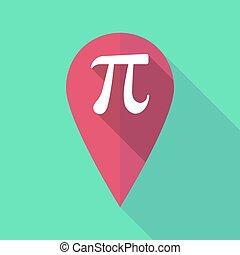 long, ombre, carte, marque, à, les, nombre, pi, symbole