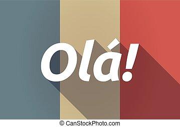 long, ombre, drapeau france, à, les, texte, hello!, dans, les, langue portugaise