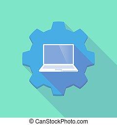 long, ombre, engrenage, icob, à, a, ordinateur portable